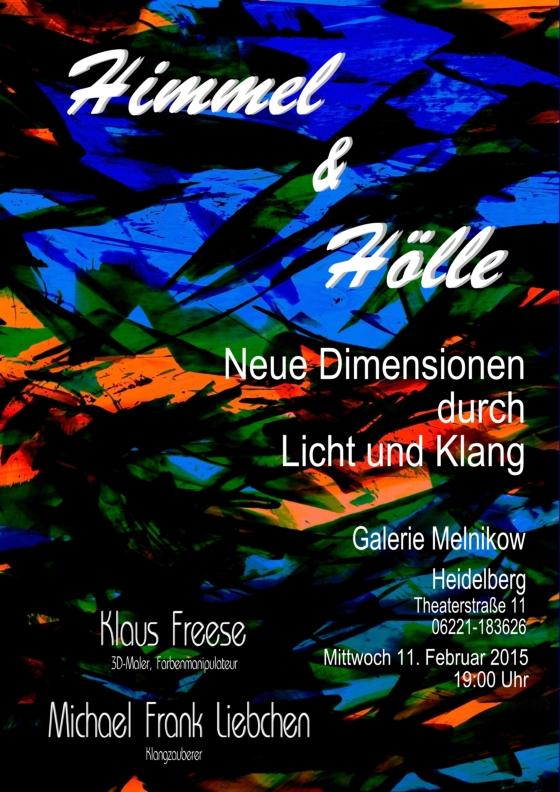 """Am Mittwoch, dem 11.2.2015 ist es mal wieder soweit. Zusammen mit Michael Liebchen, der die Livemusik mit Fujara (Hirtenflöte), Digeridoo Synthesizern und Gongs spielt, mache ich wieder eine Lichtperformance in der Galerie Melnikow in Heidelberg. Sowohl in meinem Bild, der """"Nexus"""", als auch in der Musik von Michael, werden wir die Spannungen und Unterschiede zwischen Himmel und Hölle sicht- und hörbar machen. Wird bestimmt wieder ein spannender Abend."""